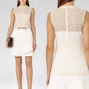 REISS Leigh High Neck Lace Top in Soft Apricot